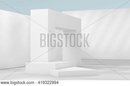 Empty Building Construction, With Sunlight Shade, 3D Rendering.