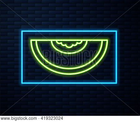 Glowing Neon Line Melon Fruit Icon Isolated On Brick Wall Background. Vector