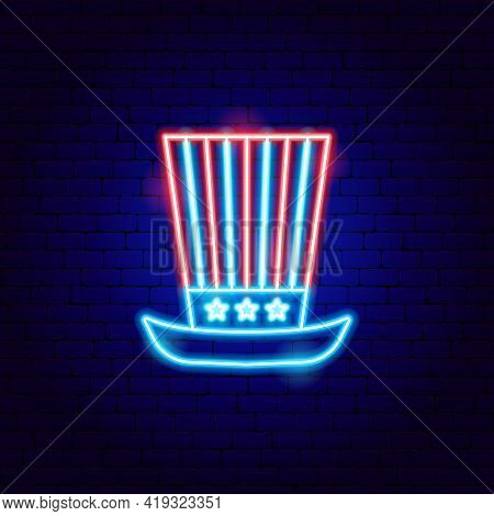 Usa Uncle Sam Hat Neon Sign. Vector Illustration Of American Promotion.