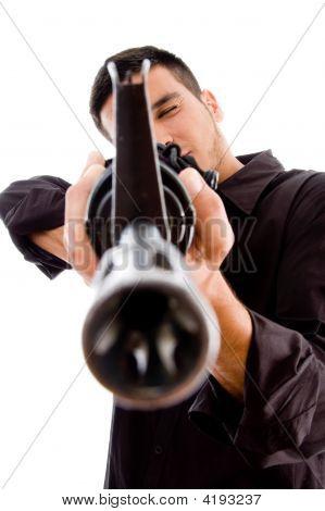 Professional Man Targeting Someone With Gun