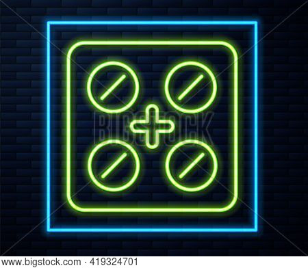 Glowing Neon Line Pills In Blister Pack Icon Isolated On Brick Wall Background. Medical Drug Package