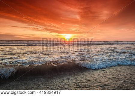 Radiant sea beach sunset ocean vawes close up