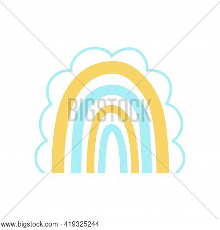 Vector Childs Drawing Of A Rainbow. Cute Boho Illustration.