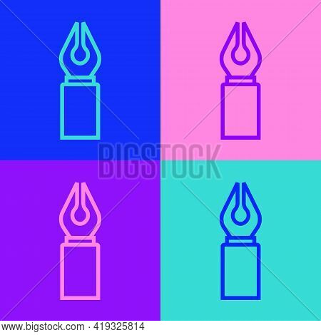 Pop Art Line Fountain Pen Nib Icon Isolated On Color Background. Pen Tool Sign. Vector
