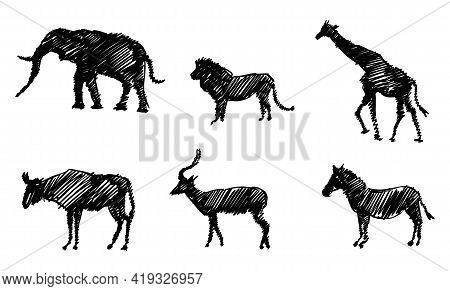 Set Of Sketchy Silhouettes Of Animals Of Africa. Elephant, Giraffe, Lion, Impala, Zebra And Gnu.