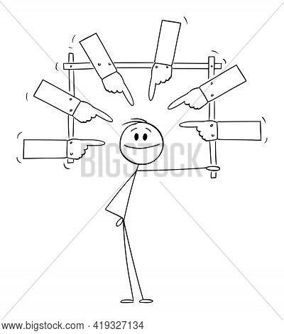 Selfish Confident Person Presenting Yourself, Self-love And Ego, Vector Cartoon Stick Figure Illustr