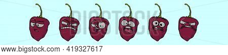Set Of Habanero Chili Peppers Logo Cartoon Icon Design Template With Various Models. Modern Vector I