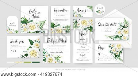 Vector, Botanical, Floral Wedding Invite, Save The Date, Menu, Thank You, Label Card Tender Template