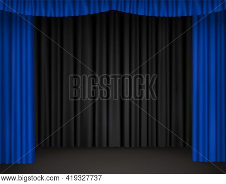 Theater Stage With Open Blue Curtains And Black Drapes On Background. Vector Realistic Illustration