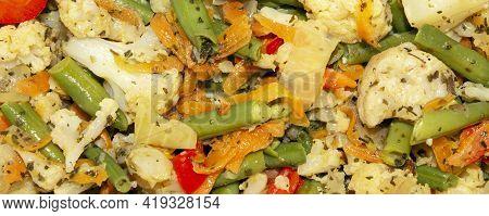 Stewed Cauliflower With String Beans.stewed Vegetables With Seasonings Background.