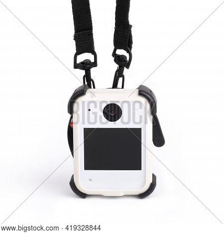 Black White Bodycam. Personal Wearable Video Recorder For Social Services, Portable Dvr, Body Camera
