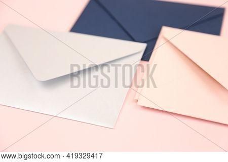 Pink, Blue And Grey Open Envelopes On Pink Background. Close Up, Mockup, Template, Square Envelope F