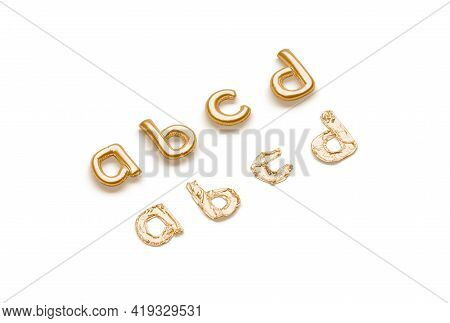 Inflated, Deflated Gold A B C D Letters, Balloon Font, 3d Rendering. Lowercase Helium Symbol For Ann