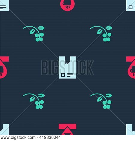 Set Location With Coffee Cup, Bag Beans And Coffee Bean, Branch On Seamless Pattern. Vector