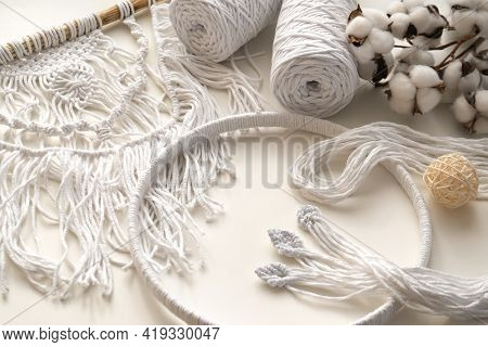 Workspace With White Threads And Cords For Macrame. Boho And Eco Concept