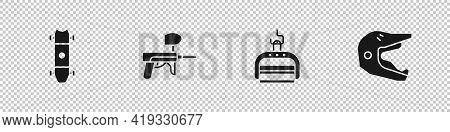Set Longboard Or Skateboard, Paintball Gun, Ski Lift And Motocross Motorcycle Helmet Icon. Vector