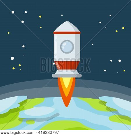Rocket. Launch Of Spaceship. Flight Into Space. Red And White Spacecraft. Takeoff From The Planet. S