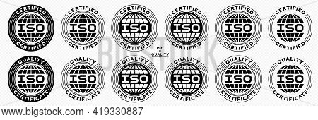 A Set Of Stamps For Marking Products. Certificate - Iso. A Set Of International Standards For The Qu