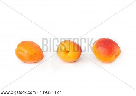Seamless Pattern With Apricot. Tropical Abstract Background. Apricot On The White Background.
