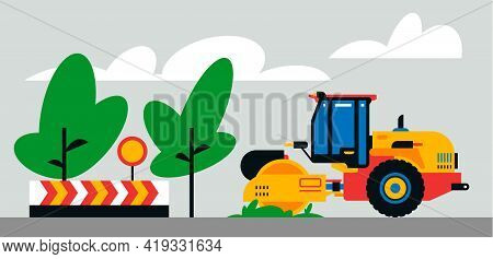 Construction Machinery Works At The Site. Construction Machinery, Asphalt Paver On The Background Of