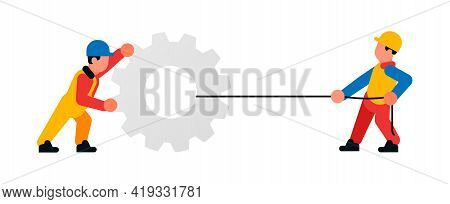 Workers Pulling A Large Gear On A Rope. Builders And Gear. Vector Illustration Isolated On White Bac