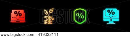 Set Percent Discount And Laptop, Dollar Plant, Loan Percent And Monitor Icon. Vector
