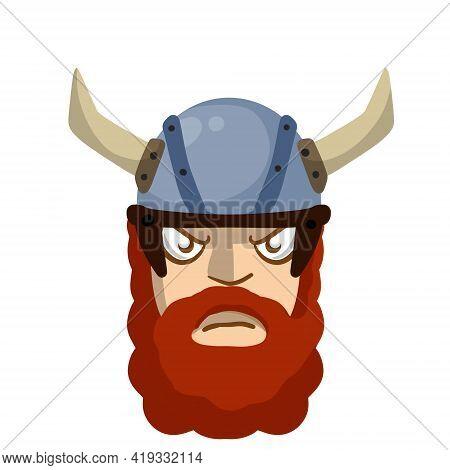 Viking. Evil Face Of Barbarian Warrior. Villain Scandinavian Character. A Soldier In Horned Helmet.