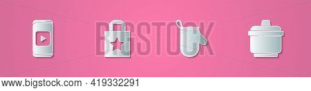 Set Paper Cut Online Play Video, Paper Shopping Bag, Oven Glove And Cooking Pot Icon. Paper Art Styl