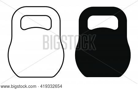 Icon Round Heavy Dumbbell, Kettlebell For Sports, Fitness. Body Building. Vector