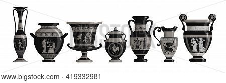 Set Of Antique Greek Dark Amphoras, Vases With Patterns, Decorations And Life Scenes. Ancient Decora