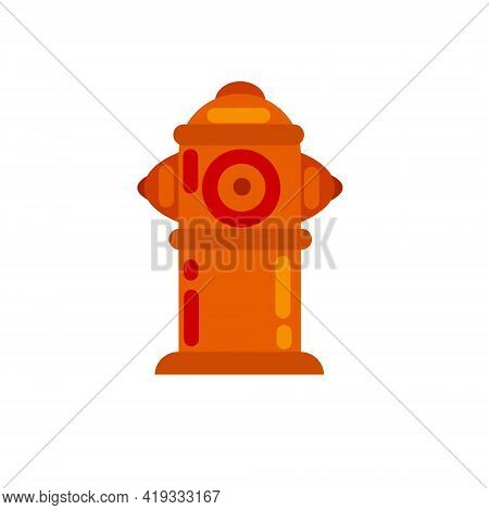 Fire Hydrant. Flat Cartoon Illustration. Red Icon Of Fire Fighting Tool.