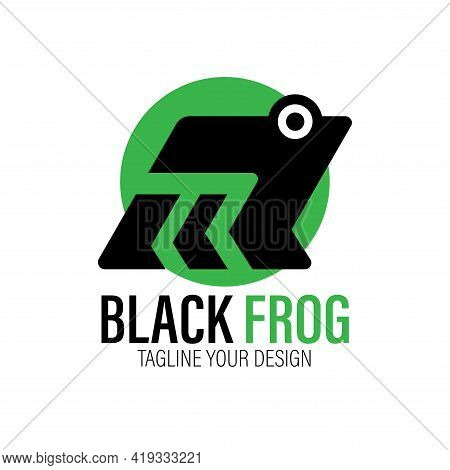 Black Frog Design Logo Vector. Black Frog Illustration Vector