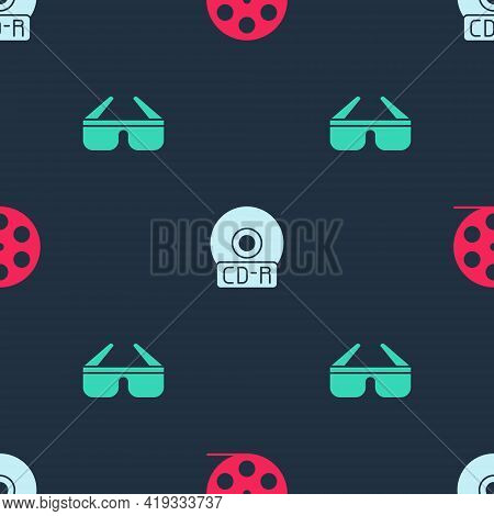 Set Film Reel, Cd Or Dvd Disk And 3d Cinema Glasses On Seamless Pattern. Vector