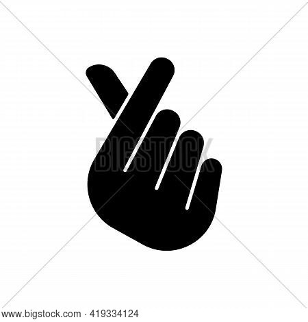 Finger Heart Black Glyph Icon. Gesturing Hand For Flirting And Friendship. Romantic Signature. Sign