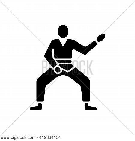 Taekwondo Black Glyph Icon. Martial Arts. Karate Fighter. Japanese Jiu Jitsu. Korean Culture. Warrio