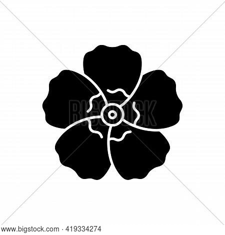 Hibiscus Syriacus Black Glyph Icon. Rose Of Sharon. Chinese And Indian Flower. Exotic Bloom. Tropica