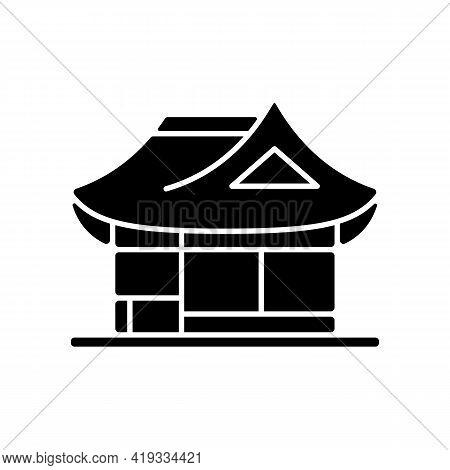 Hanok Black Glyph Icon. Traditional Architecture. Ethnic Asian Building. Classical Oriental Home. Ea