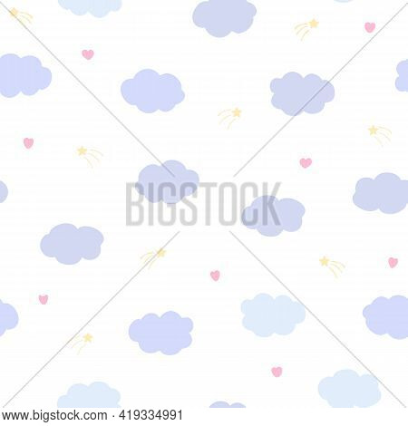 Vector Seamless Pattern With Clouds And Hearts On White Background. For  Fabric, Textile And Linen,