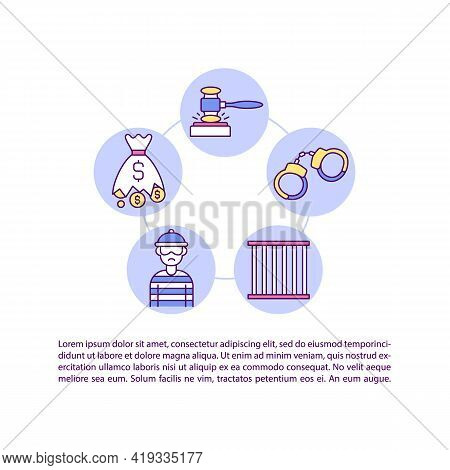 Criminal Remedies For Infringement Concept Line Icons With Text. Ppt Page Vector Template With Copy