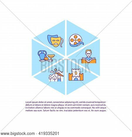Works Subject To Copyright Law Concept Line Icons With Text. Ppt Page Vector Template With Copy Spac