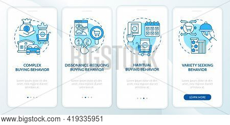 Buyer Behavior Types Onboarding Mobile App Page Screen With Concepts. Habitual Buying Behaviour Walk