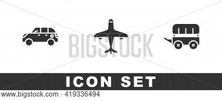 Set Hatchback Car, Plane And Wild West Covered Wagon Icon. Vector
