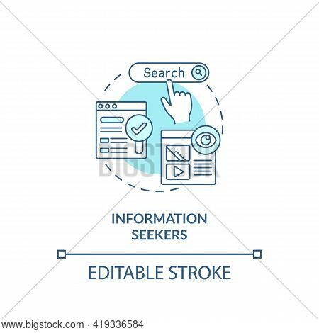 Information Seekers Concept Icon. Internet Consumer Behavior Idea Thin Line Illustration. Observed A
