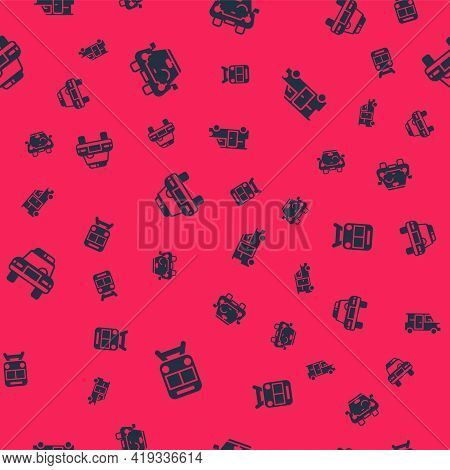 Set Train And Railway, Car, Police Car Flasher And Minibus On Seamless Pattern. Vector