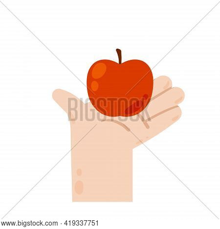 Hand Holding And Giving An Apple. Healthy Natural Food. Red Fruit. Harvesting. Modern Trendy Flat Ca