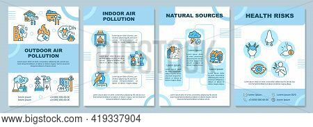 Air Pollution Brochure Template. Outdoor Air Pollution. Flyer, Booklet, Leaflet Print, Cover Design