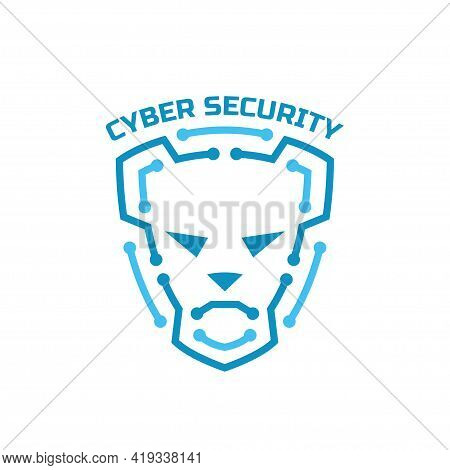 Logo Cyber Security. Security Agency Sign. Shield Protection And Dog On Him.