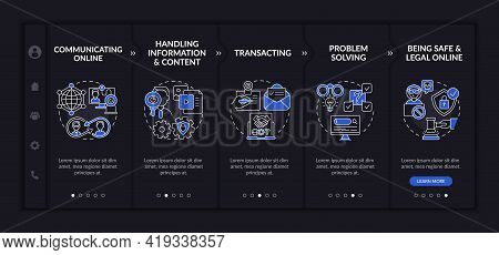 Essential Digital Skills Onboarding Vector Template. Responsive Mobile Website With Icons. Web Page