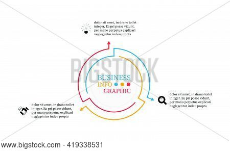Thin Line Elements Infographic Design With Arrows For Presents 3 Options. Vector Illustration Round
