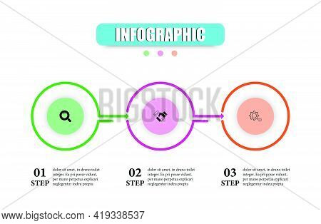 Infographic Vector Template Design With Arrows And Circle For Presents 3 Options. Vector Illustratio